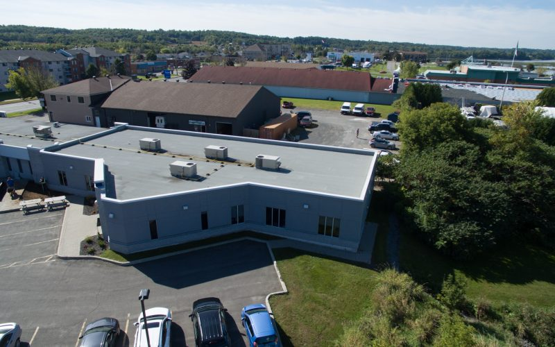 corrugated steel installation aerial view